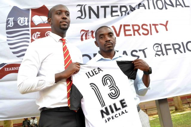 Coach Pius Ngabo (R) is yet to win a game since joining IUEA