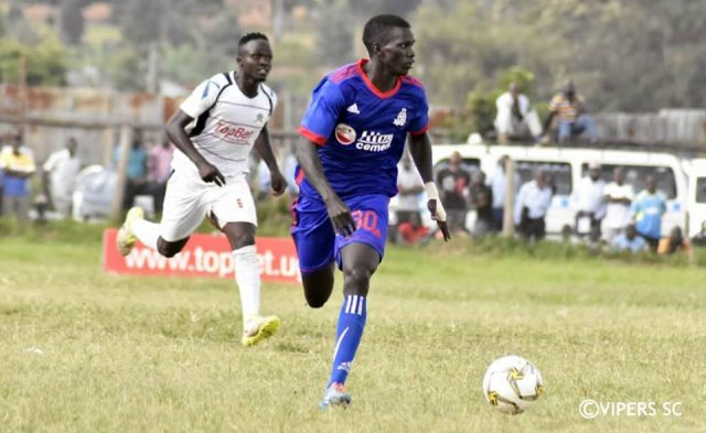 Wafula of Vipers SC in action against Mbarara City
