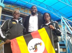 Kukundakwe (L), her mother (R) and NCS' Dhakaba (M) during flag off